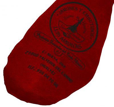 Funda de jamón roja de algodón e impresa en negra