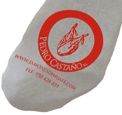 Funda de jamón blanca de algodón e impresa en roja
